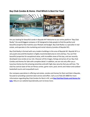 Bay Club Condos & Home -Find Which Is Best For You!