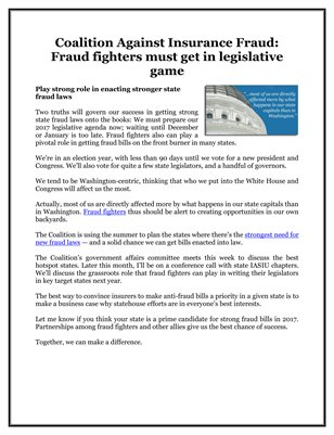 Coalition Against Insurance Fraud: Fraud fighters must get in legislative game
