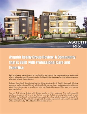 Asquith Realty Group Review: A Community that is Built  with Professional Care and Expertise