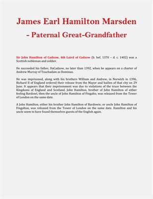 James Earl Hamilton Marsden - Paternal Great-Grandfather
