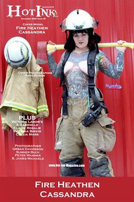 HOT INK MAGAZINE COVER POSTER - Cover Model Fire Heathen Cassandra - December 2020