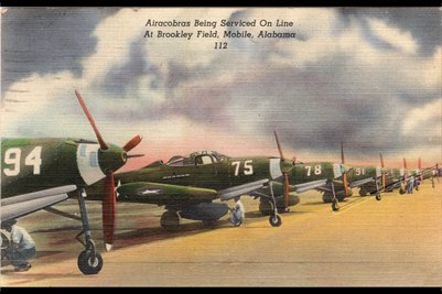 Airacobras Being Serviced on line at Brookley Field, Mobile, Alabama