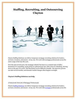 Staffing, Recruiting, and Outsourcing Clayton