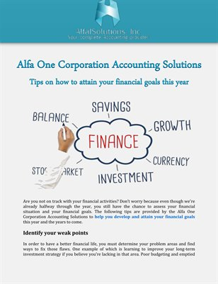 Alfa One Corporation - Tips on how to attain your financial goals this year