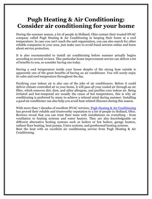 Pugh Heating & Air Conditioning: Consider air conditioning for your home