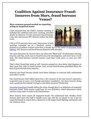 Coalition Against Insurance Fraud: Insurers from Mars, fraud bureaus Venus?