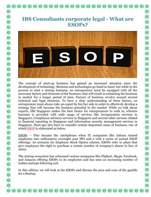 IBS Consultants corporate legal - What are ESOPs?