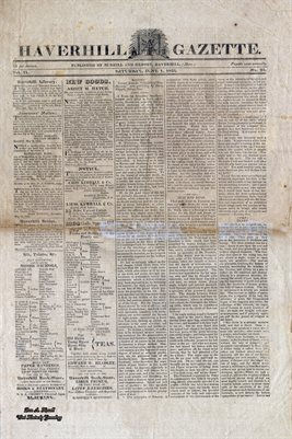 PAGES 1-2 OF JUNE 1ST, 1822, HAVERHILL-GAZETTE, MASS. NEWSPAPER