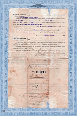 1917 Deed, Pace to Pace, Marshall County, Kentucky