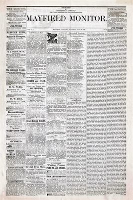 (PAGES 1-2) JUNE 26th, 1880 MAYFIELD MONITOR NEWSPAPER, MAYFIELD, GRAVES COUNTY, KENTUCKY