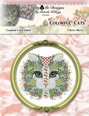 Colorful Cats Cherry Berry Counted Cross Stitch Pattern