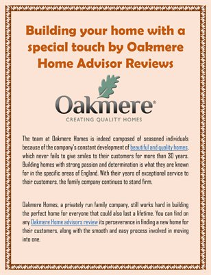 Building your home with a special touch by Oakmere Home Advisor Reviews