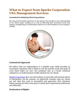 What to Expect from Sparks Corporation USA Management Services