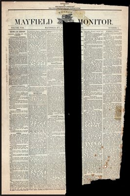 (PAGES 1-2)  JULY 08, 1882 MAYFIELD MONITOR NEWSPAPER, MAYFIELD, GRAVES COUNTY, KENTUCKY