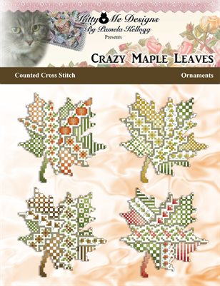 Crazy Maple Leaves Ornaments Counted Cross Stitch Pattern