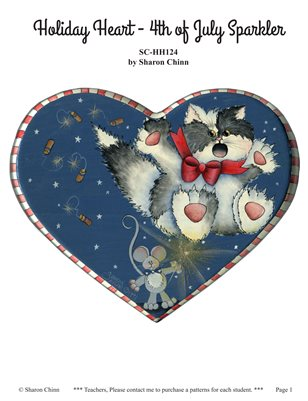 4th of July Sparkler Cat and Mouse Painting Pattern - Sharon Chinn SCHH124