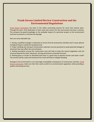 Frank Owens Limited Review: Construction and The Environmental Regulations