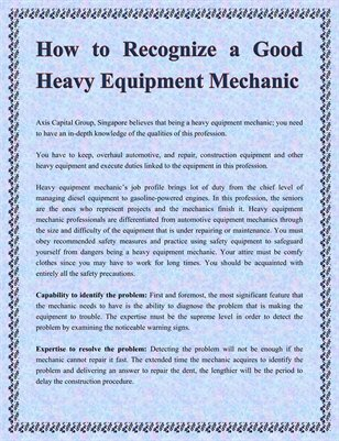 How to Recognize a Good Heavy Equipment Mechanic