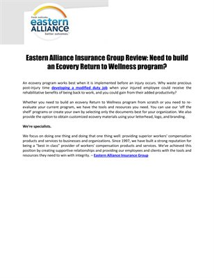 Eastern Alliance Insurance Group Review: Need to build an Ecovery Return to Wellness program?