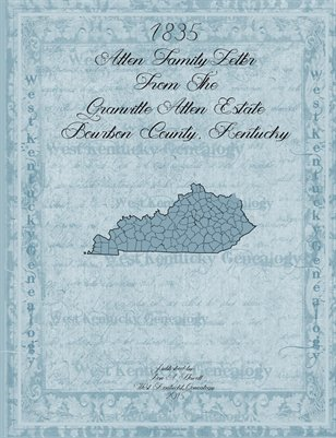 1835 Allen Family Letter from the Granville Allen Estate, Bourbon County, Kentucky