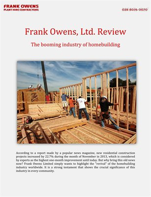 Frank Owens, Ltd. Review: The booming industry of homebuilding