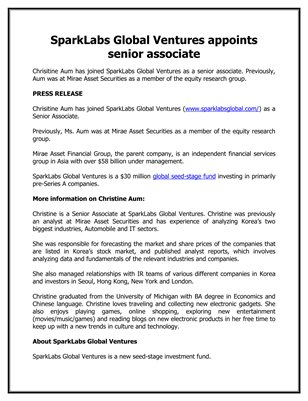 Sparks Corporation: SparkLabs Global Ventures appoints senior associate