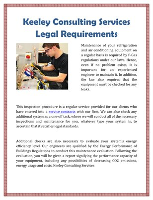 Keeley Consulting Services Legal Requirements