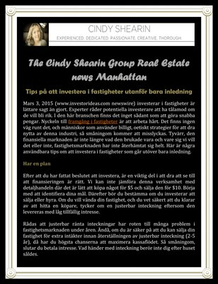 The Cindy Shearin Group Real Estate news Manhattan - Tips på att investera i fastigheter