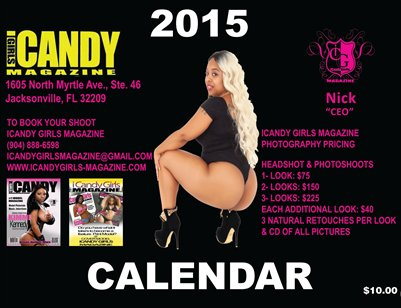 NEW ICANDY GIRLS MAGAZINE 2015 BLACK COVER WITH MS. JAZZY RED BONE ORDER YOUR CALENDAR TODAY