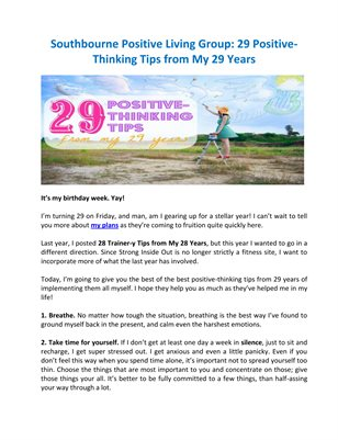 Southbourne Positive Living Group: 29 Positive-Thinking Tips from My 29 Years