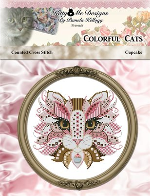 Colorful Cat Cupcake Counted Cross Stitch Pattern