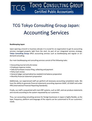 TCG Tokyo Consulting Group Japan: Accounting Services