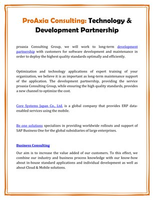 ProAxia Consulting: Technology & Development Partnership