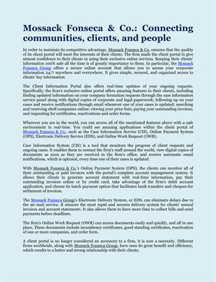 Mossack Fonseca & Co.: Connecting communities, clients, and people