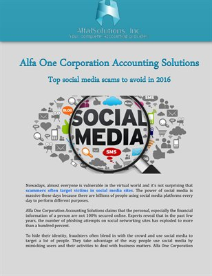 Alfa One Corporation Accounting Solutions: Top social media scams to avoid in 2016