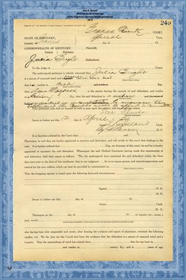 1924 State of Kentucky vs. Julia Bright, Graves County, Kentucky