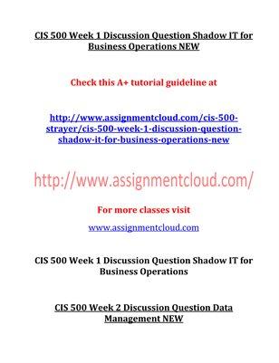 CIS 500 Entire Course NEW