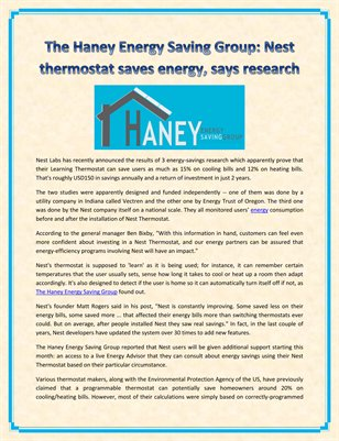 The Haney Energy Saving Group: Nest thermostat saves energy, says research