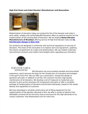 BHI Elevators - Hi End Elevator Design New York