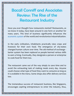 Bacall Conniff and Associates Review: The Rise of the Restaurant Industry