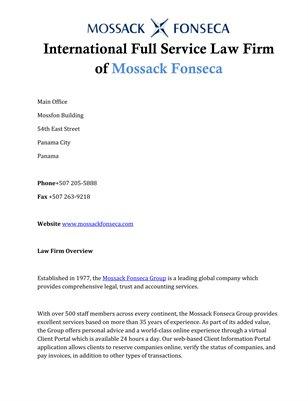 International Full Service Law Firm of Mossack Fonseca