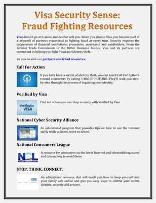 Visa Security Sense: Fraud Fighting Resources