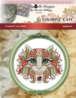 Colorful Cats Applejack Counted Cross Stitch Pattern