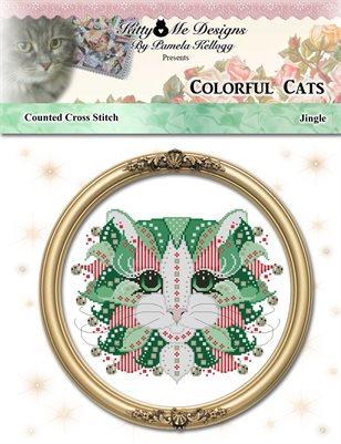 Colorful Cats Jingle Counted Cross Stitch Pattern