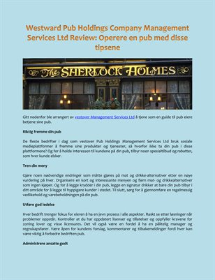 Westward Pub Holdings Company Management Services Ltd Review: Operere en pub med disse tipsene