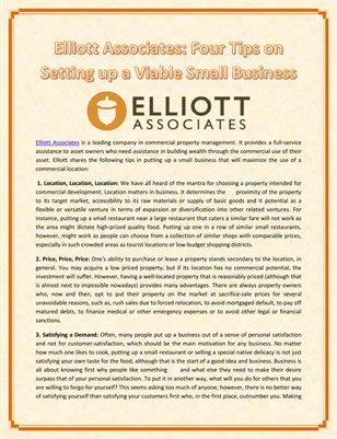Elliott Associates: Four Tips on Setting up a Viable Small Business