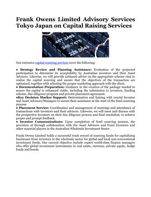 Frank Owens Limited Advisory Services Tokyo Japan on Capital Raising Services