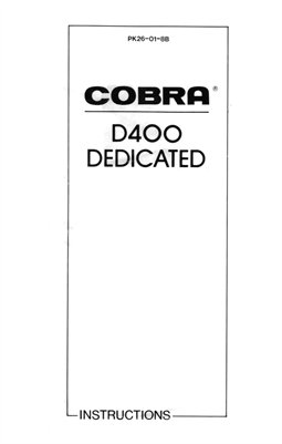 Cobra D400 Dedicated Bounce Zoom Flash Unit (for Canon, Minolta, Nikon, Olympus or Pentax) Instruction Manual
