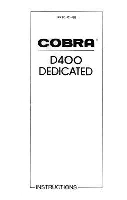 Cobra D400 Dedicated Bounce Zoom Flash Unit (for Canon, Minolta, Nikon, Olympus or Pentax) Instruction Manual