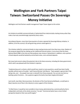 Wellington and York Partners Taipei Taiwan: Switzerland Passes On Sovereign Money Initiative